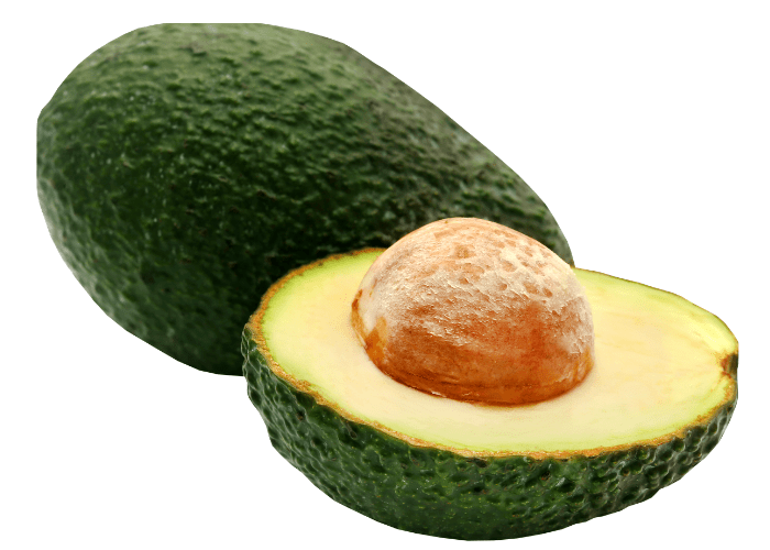 1.5 avocados on white background