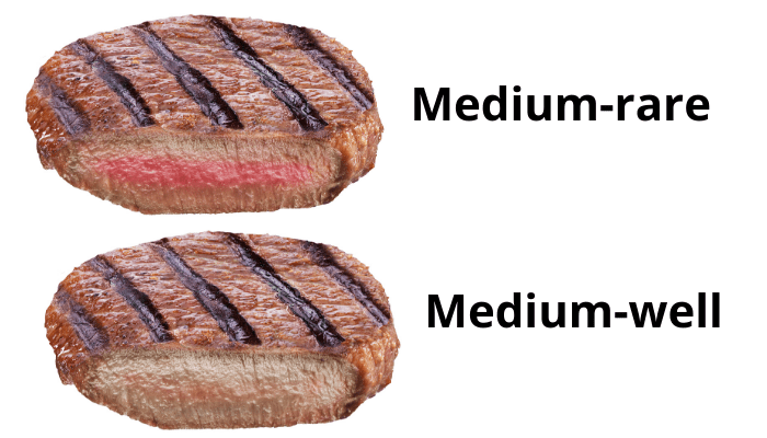 2 medium types steak photo on white background