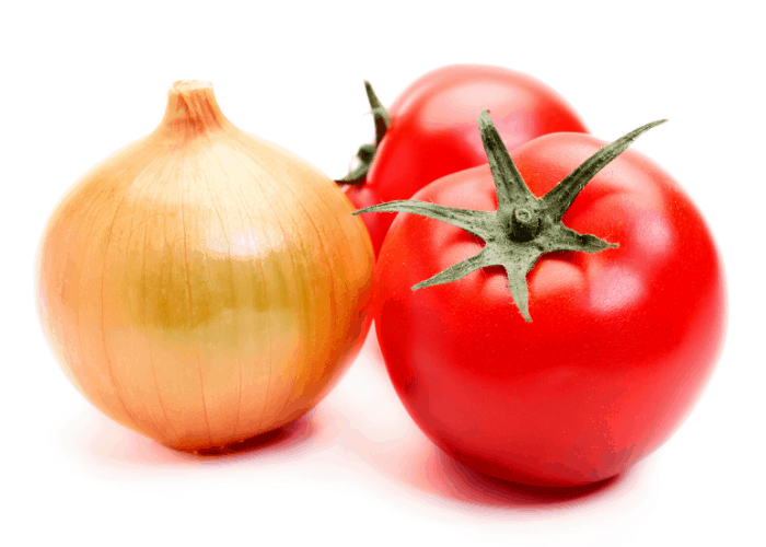 2 tomatoes and an onion on white background