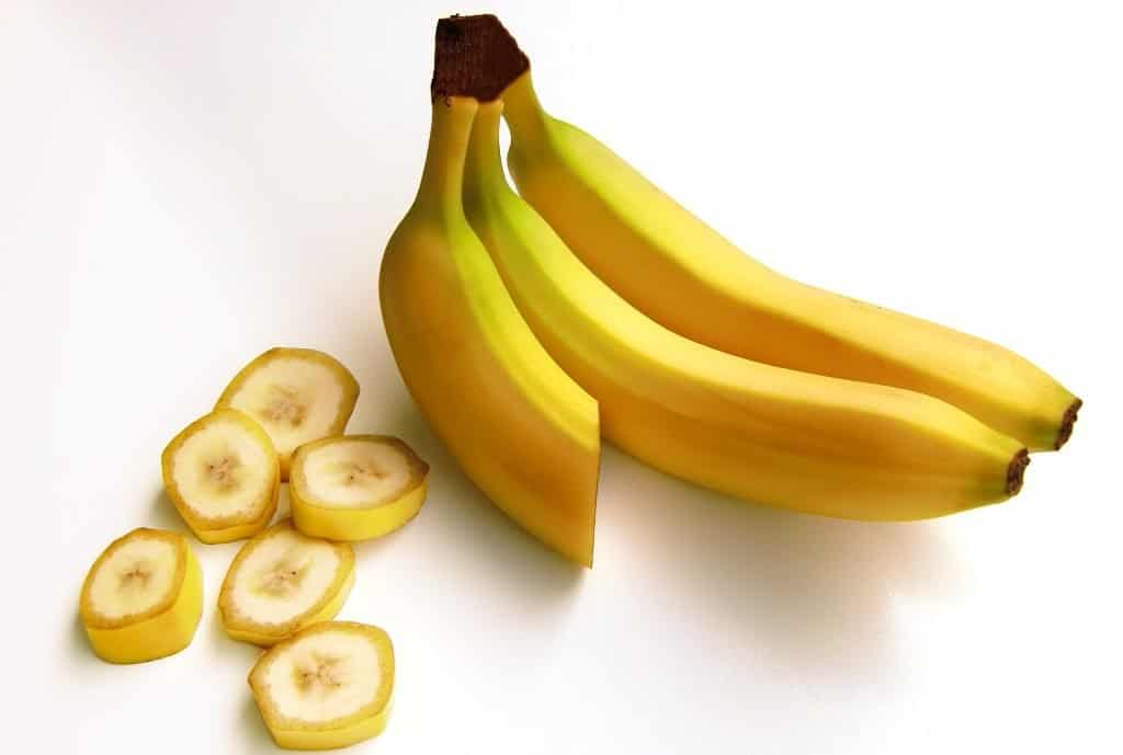 3 Yellow Banana Fruits on white background