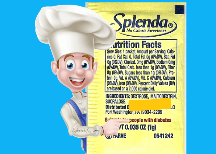 A cartoon chef pointing to Splenda ingredients on blue background