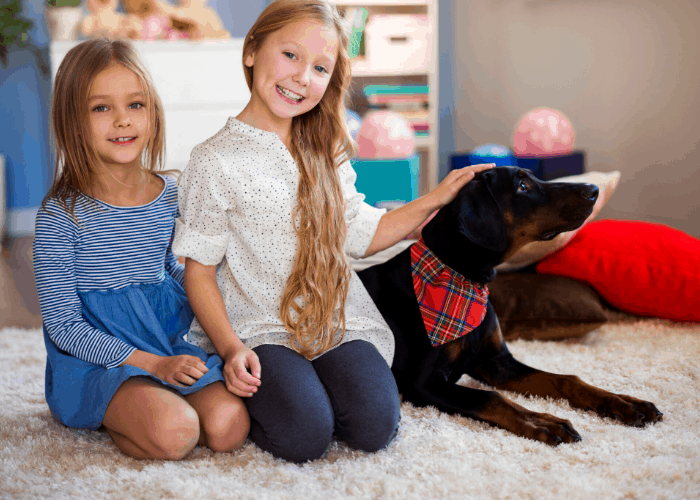 Doberman Pinscher with 2 young girls