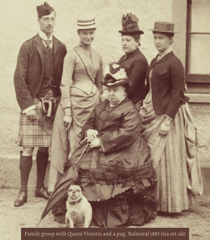 Family group with Queen Victoria and a pug, Balmoral 1887