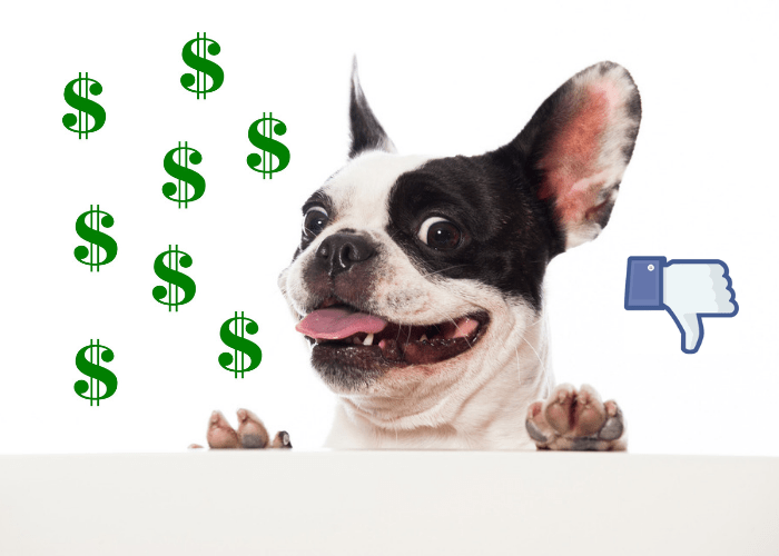 Funny French bulldog with dollar and dislike sign