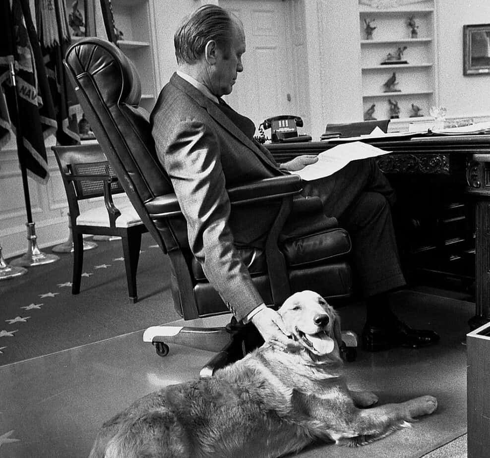 President Ford and his golden retriever named Liberty
