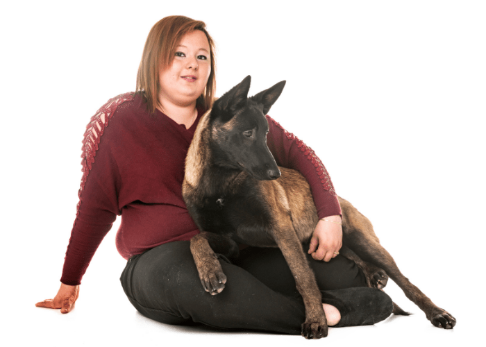 belgian malinois with its lady owner