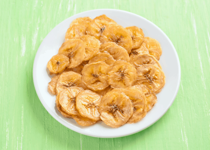 dried Banana Chips in a bowl