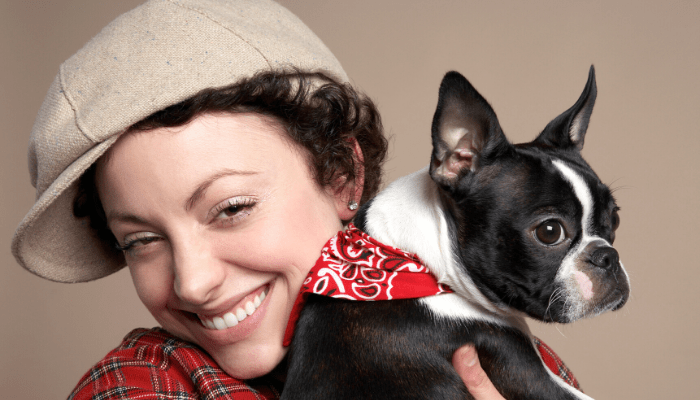 french bulldog and owner close up photo
