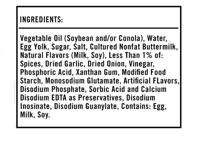 ranch dressing ingredients