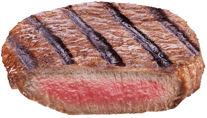 rare steak photo on white background
