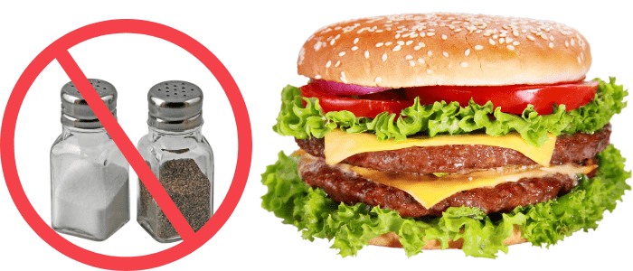salt and pepper not allowed in a cheeseburger image
