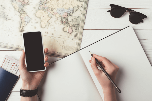 travel planning using smartphone and a map